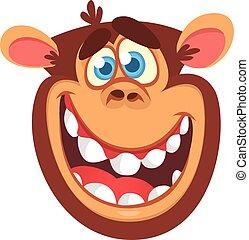 Cartoon monkey head icon. Vector illustration of smiling chimpanzee character isolated