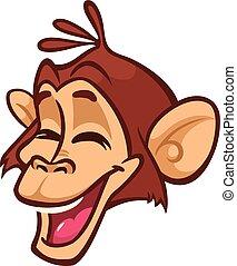 Cartoon monkey head. Vector illustration