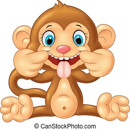 Cartoon monkey making a teasing fac - Vector illustration of...