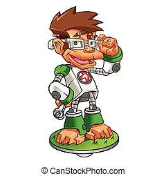 Cartoon Monkey Nerd robot