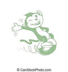Cartoon monkey on electric vehicle