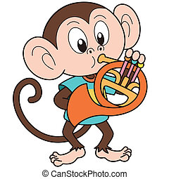 Cartoon Monkey Playing a French Horn