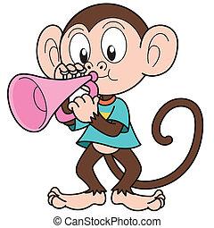 Cartoon Monkey Playing a Trumpet - Cartoon monkey playing a...