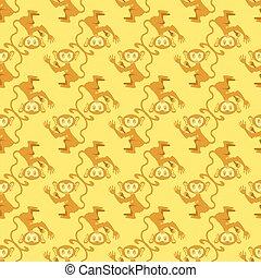Cartoon Monkey Seamless Pattern