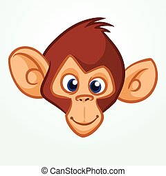 Cartoon monkey. Vector happy monkey head icon. Illustration of chimpanzee