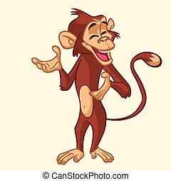 Cartoon monkey. Vector illustration