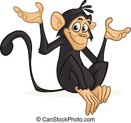Cartoon monkey . Vector illustration
