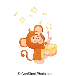 Cartoon monkey with a drum. Vector illustration on a white background.