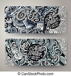 Cartoon monochrome vector hand drawn doodles Winter ...