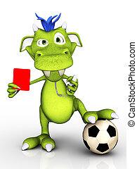 Cartoon monster as soccer referee. - A cute cartoon monster...