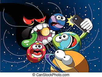 Cartoon monster black hole eating universe Earth selfie...