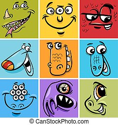 Cartoon Illustration of Monster Fictional Characters Faces Set