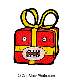 cartoon monster christmas present