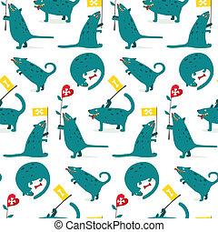Cartoon Monster Dogs Seamless Pattern