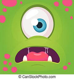 Cartoon monster face. Vector Halloween green cool monster avatar with wide smile. Package design