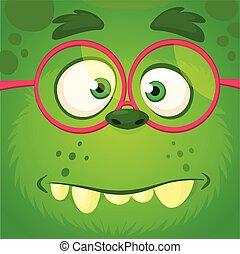 Cartoon monster face wearing eyeglasses. Vector Halloween funny green zombie square avatar