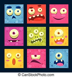 Cartoon Monster Faces Vector Set.