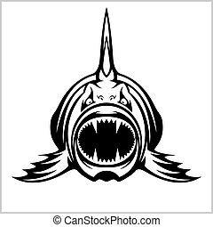 Cartoon monster fish isolated on white - Vector illustration...