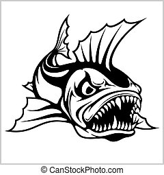 Cartoon monster fish Vector illustration
