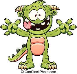 Cartoon monster - Green cartoon monster. Vector clip art ...