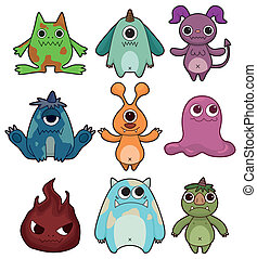 cartoon monster icon set