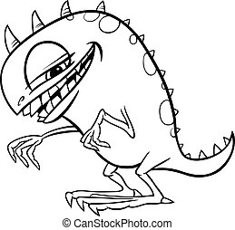 cartoon monster illustration for coloring - Black and White ...