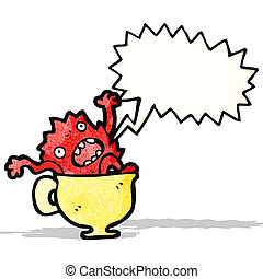 cartoon monster in teacup
