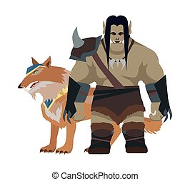 Cartoon Monster Orc Warrior with Wolf. Game Object