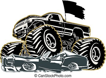 Cartoon Monster Truck. Available EPS-8 separated by groups...