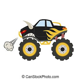 Cartoon monster truck. Big muscle car. 4x4 nursery vehicle. Diesel bull auto