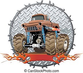 Cartoon Monster Truck - Vector Cartoon Monster Truck....