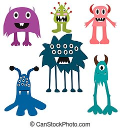 Cartoon monsters big set. Colorful toy monster, cute monster. Monster flat, monster alien, monster kids, monster animals, monster teeth, monster art, monster cool, monster icons. Monster vector EPS 10