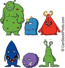 Cartoon Monsters characters Set