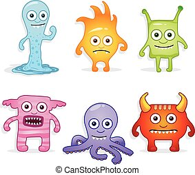 Cartoon monsters - Collection of different cute monsters, in...