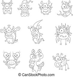 Cartoon monsters, goblins, ghosts - The collection of ten ...