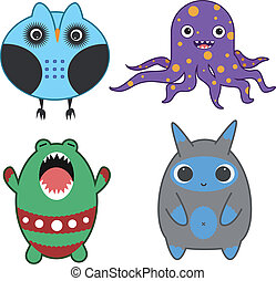 Set of nice Japanese style monsters