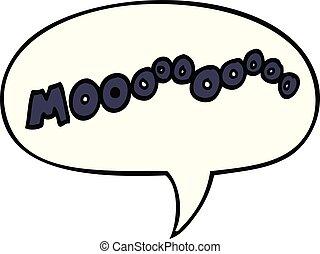 cartoon moo noise and speech bubble - cartoon moo noise with...