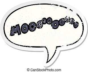 cartoon moo noise and speech bubble distressed sticker -...