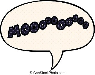 cartoon moo noise and speech bubble in comic book style -...