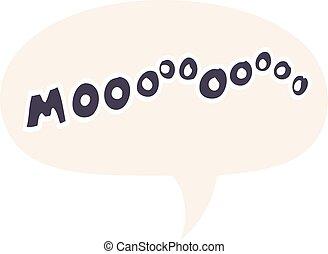 cartoon moo noise and speech bubble in retro style - cartoon...