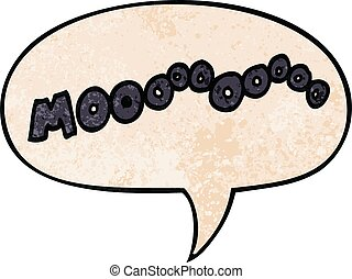 cartoon moo noise and speech bubble in retro texture style -...