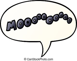 cartoon moo noise and speech bubble in smooth gradient style...