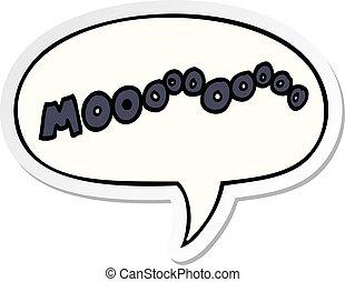 cartoon moo noise and speech bubble sticker - cartoon moo...