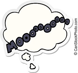 cartoon moo noise and thought bubble as a printed sticker -...
