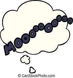 cartoon moo noise and thought bubble - cartoon moo noise...