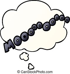 cartoon moo noise and thought bubble in smooth gradient...