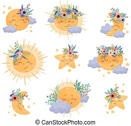 Cartoon Moon and Sun Shining at Night and By Day Vector Set