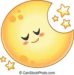 Cartoon moon - Cartoon sleeping moon with stars