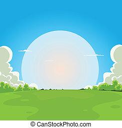 Cartoon Moonrise Background - Illustration of a cartoon moon...