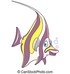 Cartoon moorish idol fish, isolated on white background. Childish vector illustration and colorful book page for kids.